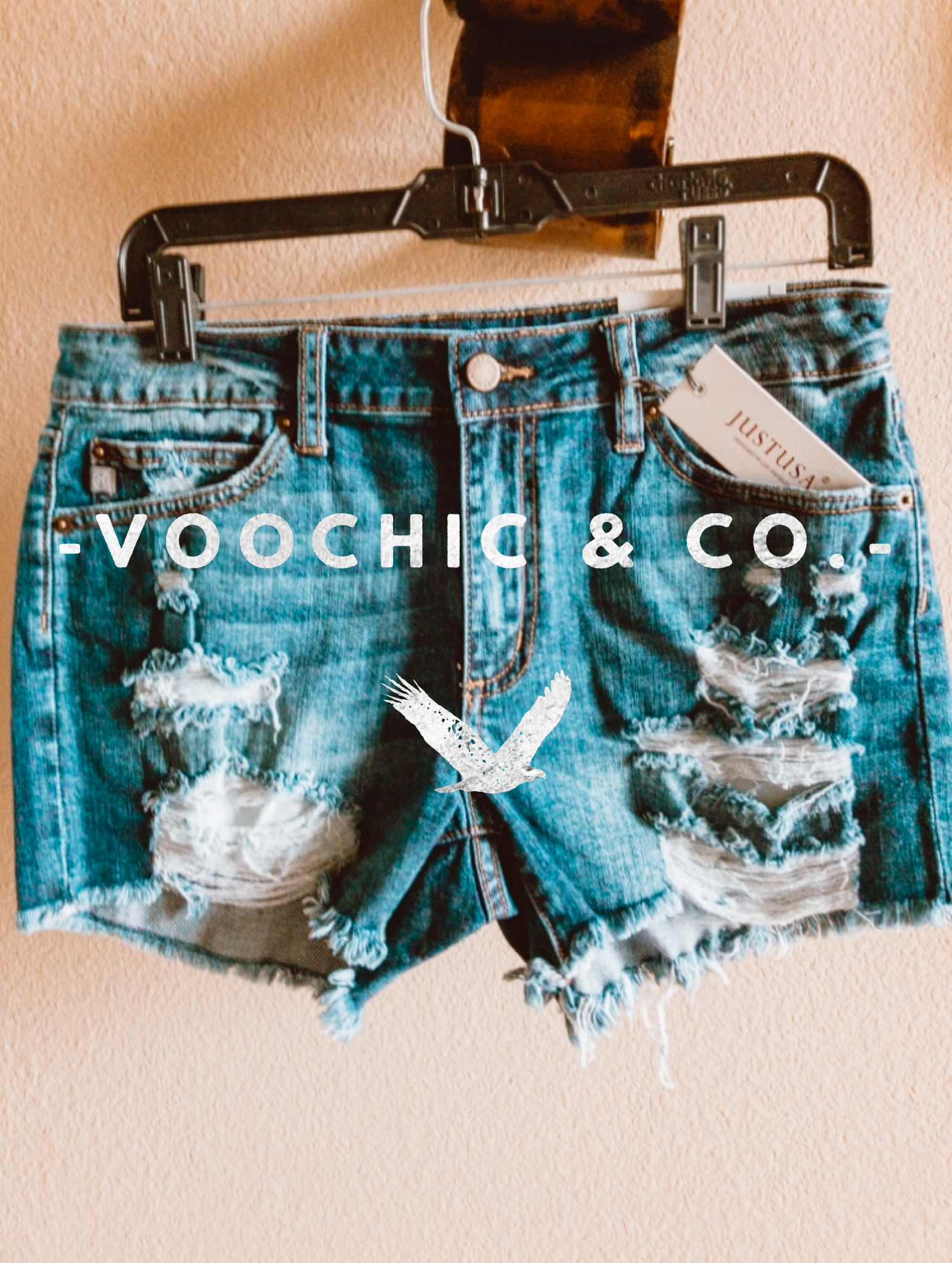 JUST USA-  Texas Distressed Blue Jean Shorts