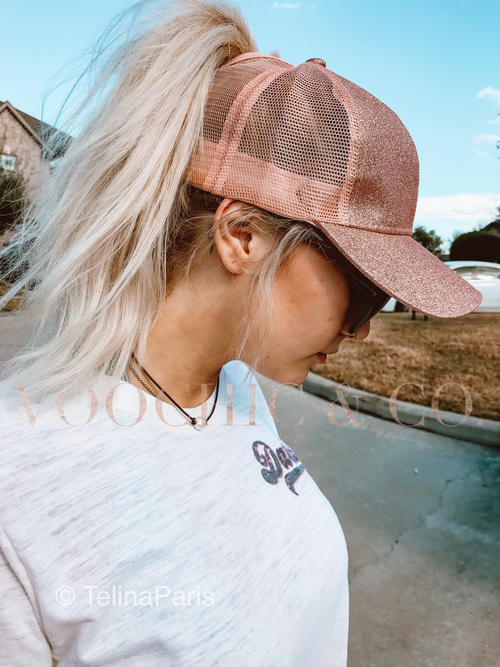 Rose Gold Glitter Ponytail C.C. Cap