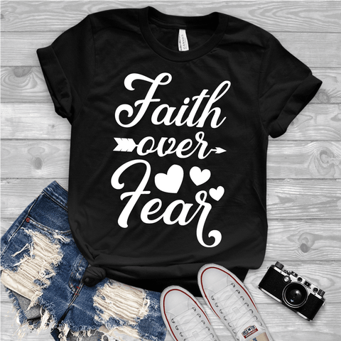 Tee Vision Shop Faith Over Fear Christian Short-Sleeve T-Shirt