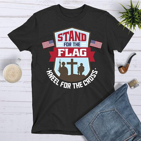 Tee Vision Shop I Stand For The Flag Kneel For The Cross Military Soldier T-Shirt