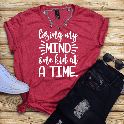Tee Vision Shop Losing My Mind One Kid At A TIme Short-Sleeve T-Shirt