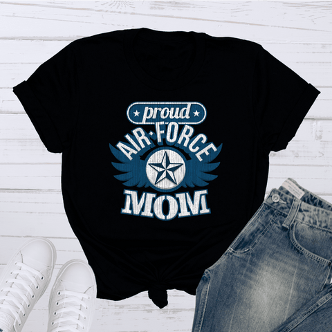 Tee Vision Shop Proud Airforce Mom Short-Sleeve T-Shirt