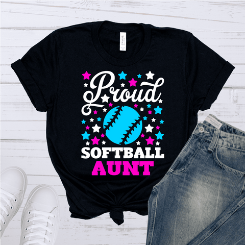 Tee Vision Shop Proud Softball Aunt Short-Sleeve Unisex T-Shirt