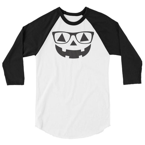Tee Vision Shop White/Black / XS Pumpkin Face With Glasses Halloween 3/4 sleeve raglan shirt