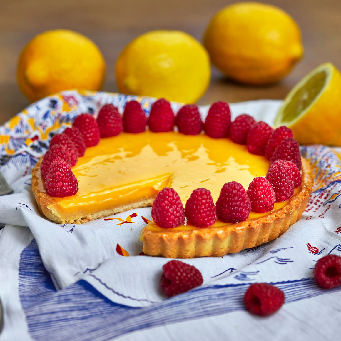 Large Citrus Tart with Raspberries