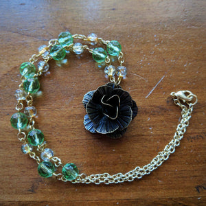 Golden Emerald Rose Necklace