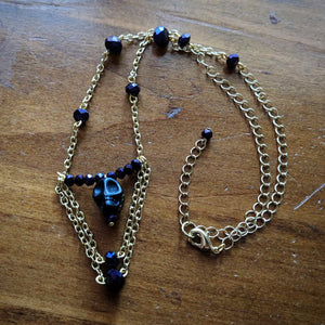 Skull - White & Oil Slick Necklace