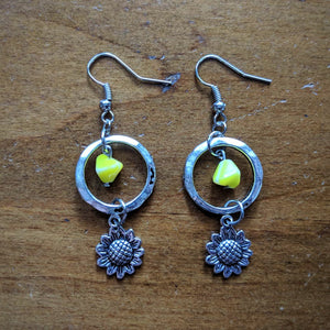 Yellow Ring Sunflower Earrings