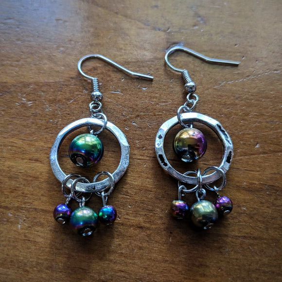 Oil Slick Triple Drop Earrings