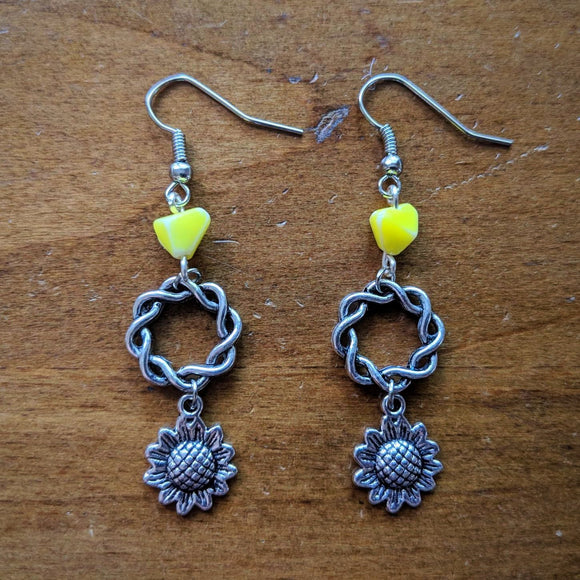 Yellow Wreath Sunflower Earrings