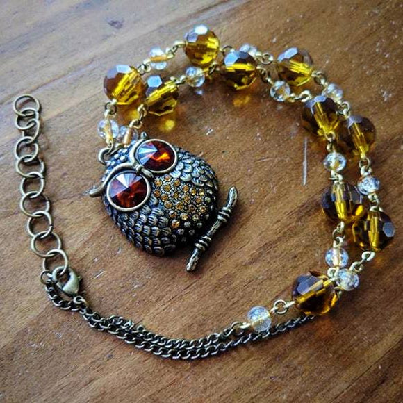 Amber & Gold Owl Necklace