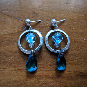 Cracked Drop Hoop Earrings