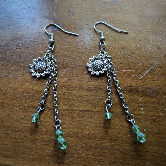 Green Crystal Sunflower Earrings