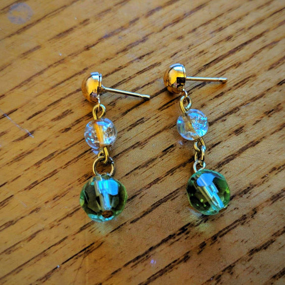 Golden Emerald 2 Tier Earrings