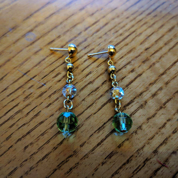 Golden Emerald 3 Tier Earrings