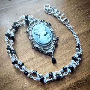 Classic Ebony Crystal Cameo Necklace