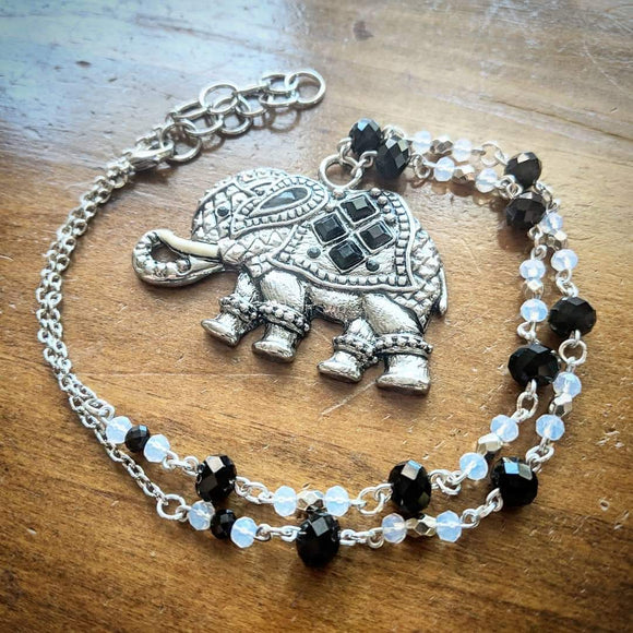 Onyx Crystal Elephant Necklace
