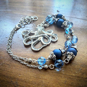 Navy Octopus Necklace