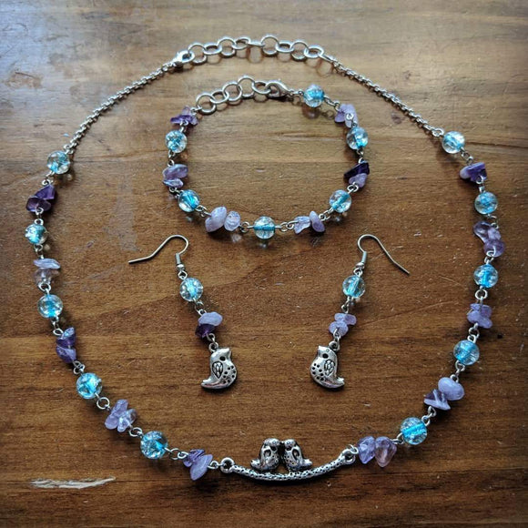 Amethyst & Silver LoverBirds Set
