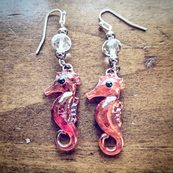 Crimson Seahorse Earrings