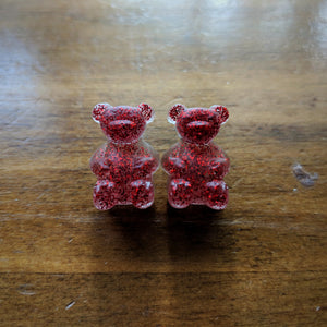 Clear w/glitter Gummy Bear Earrings - Red