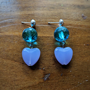 Babydoll Hearts in Blue Earrings