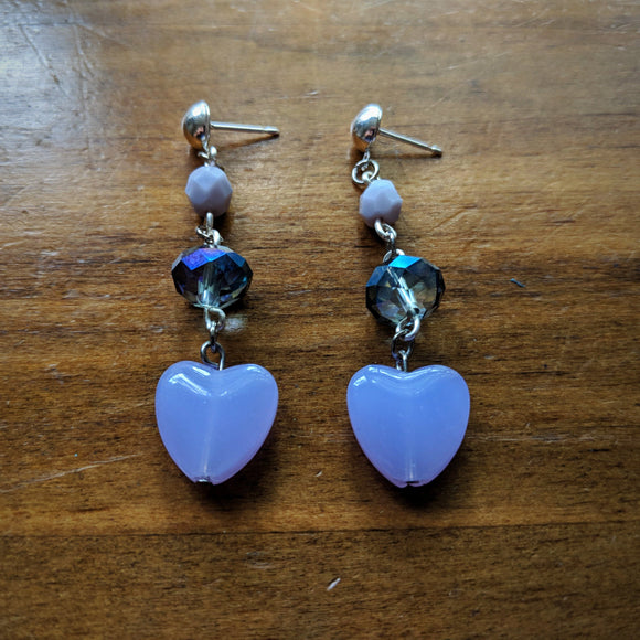 Babydoll Hearts with Oil Slick Tiers Earrings