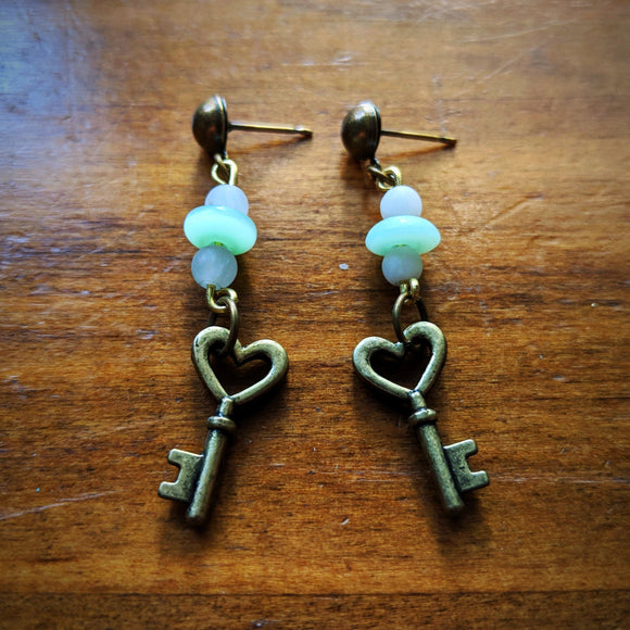 Pale Heart Key Earrings