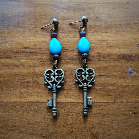 Turquoise Key Earrings