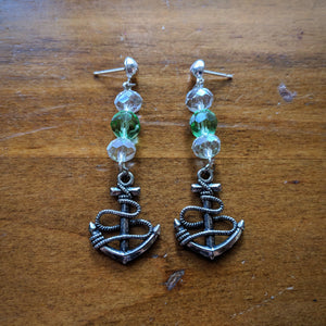 Silver Roped Anchor Earrings