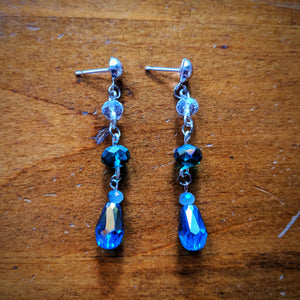 Sparkling Blue Dangle Earrings