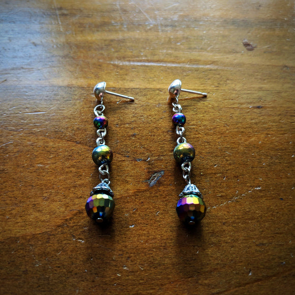 Oil Slick Crystal Earrings