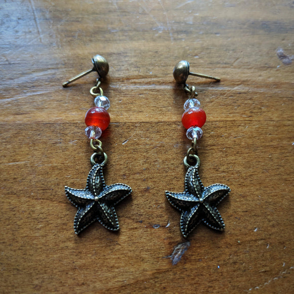 Warm Agate Sea Star Earrings