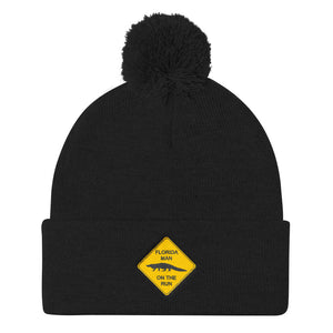 FLMOTR: Gator Crossing Sign - Pom Pom Knit Beanie