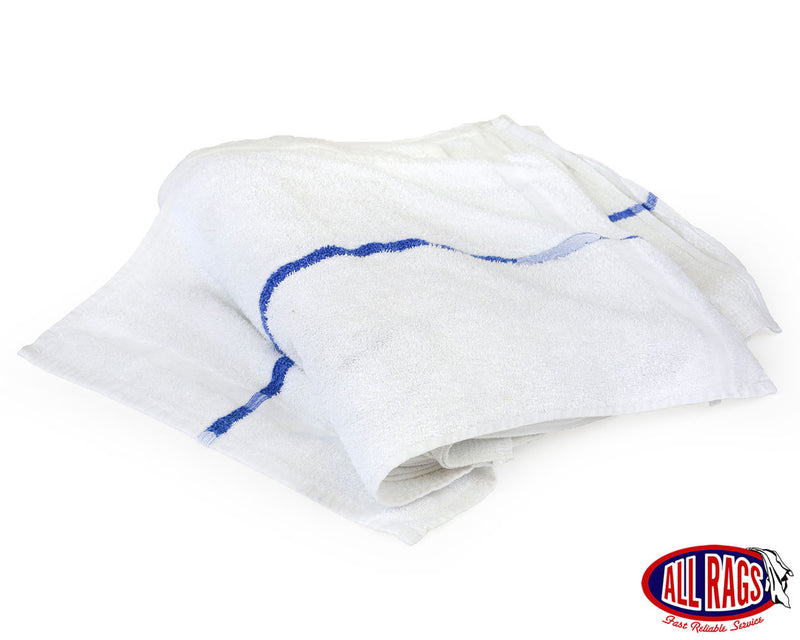 New White Terry Cotton Hand Towel with Blue Center Stripe