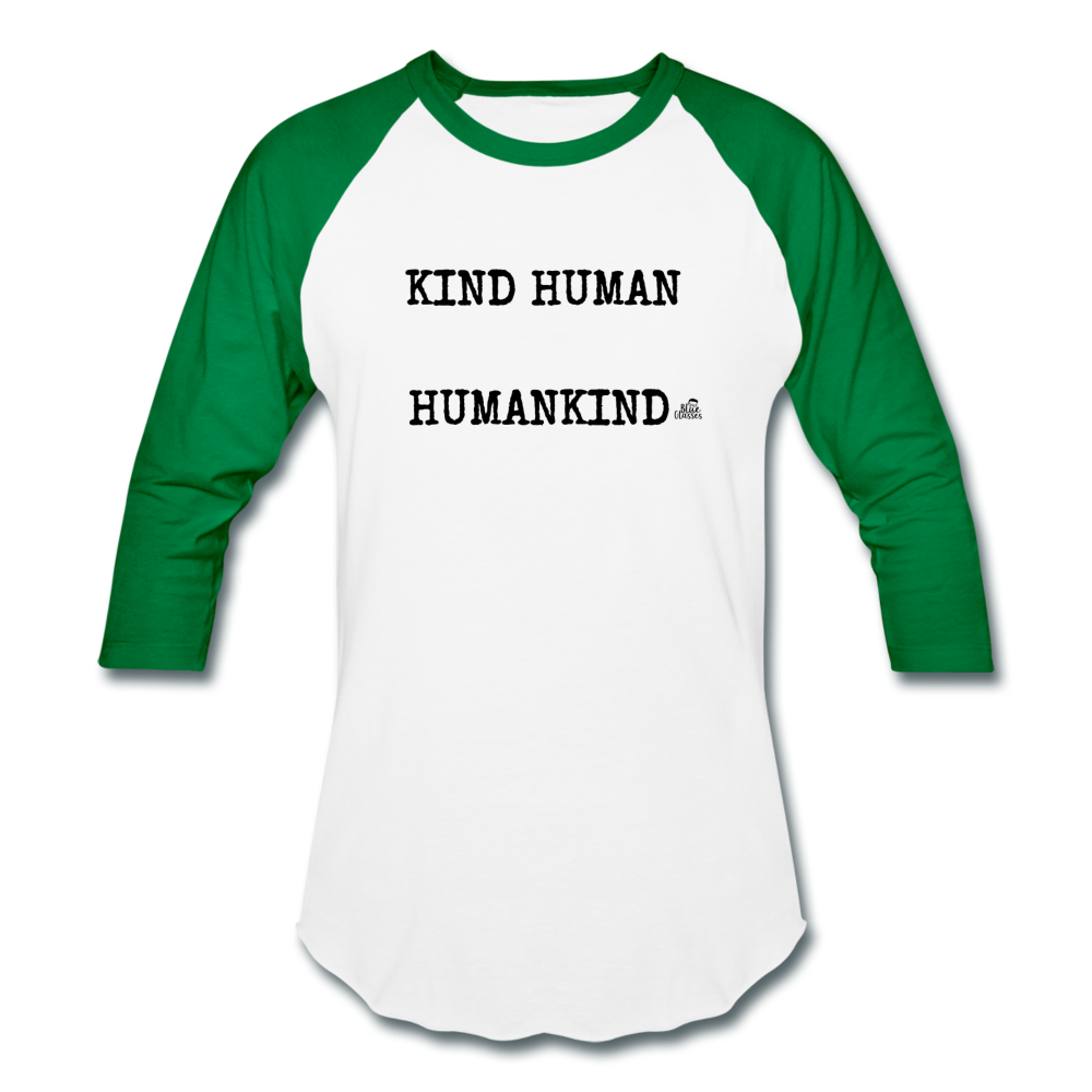 "Woman's Baseball T-Shirt ""KIND HUMAN"" - white/kelly green"