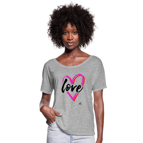 "Women's Flowy T-Shirt ""love"" - heather gray"