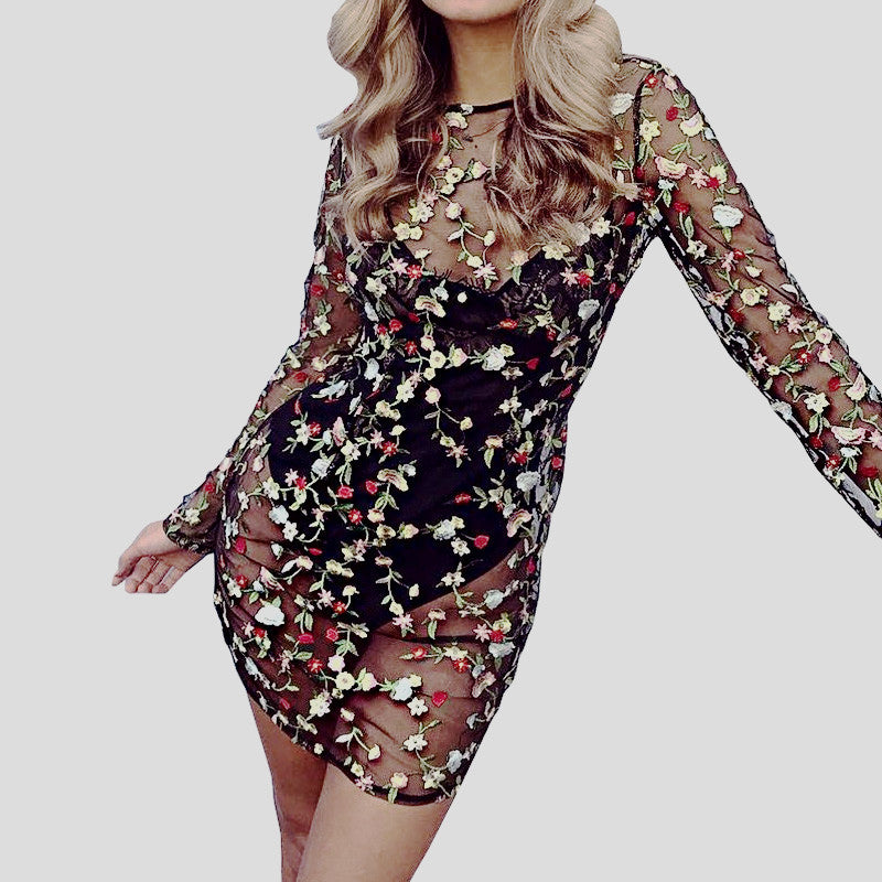 110f8745a6d4 Embroidery Flower Transparent Mesh Dress - Selfie Ready Collection