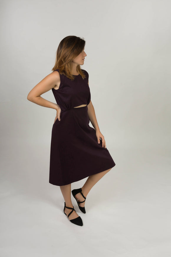Strap dress with gathers - Aubergine