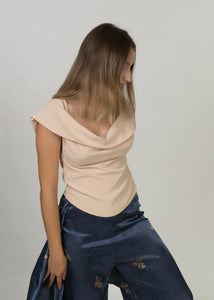 Top with draped neckline   Blush (OUT OF STOCK)
