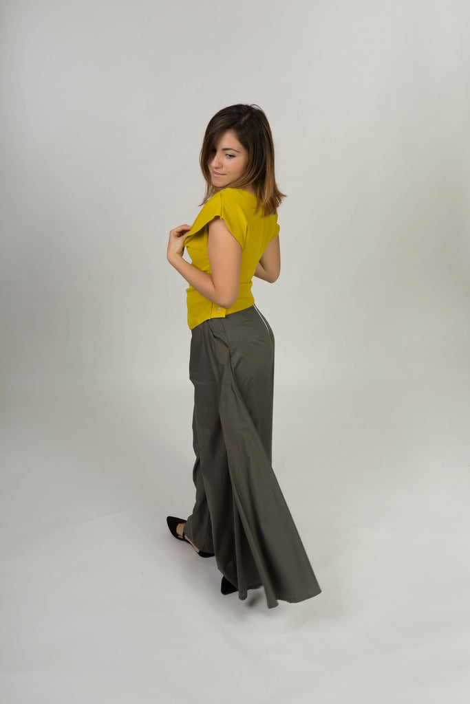 Long trousers with side drapes - Cotton