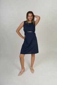 Strap dress with gathers - Navy