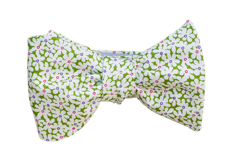 Green Floral Youth Bow Tie