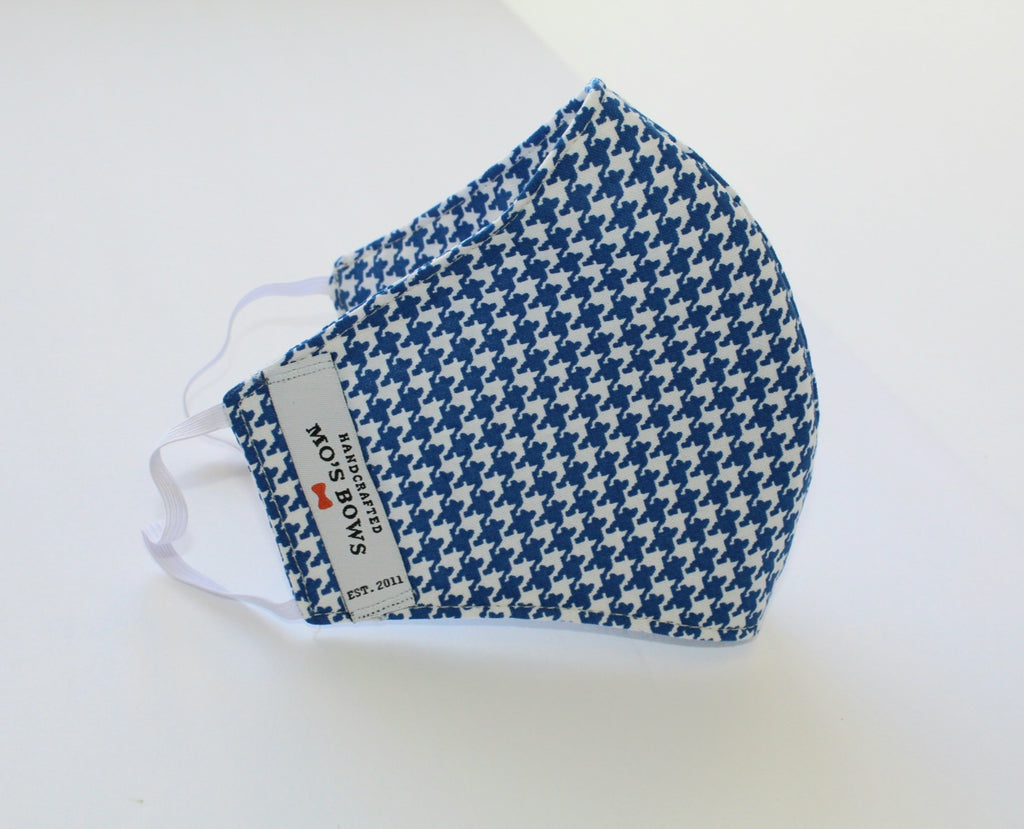 GoMo ADULT Face Mask - Blue and White Houndstooth