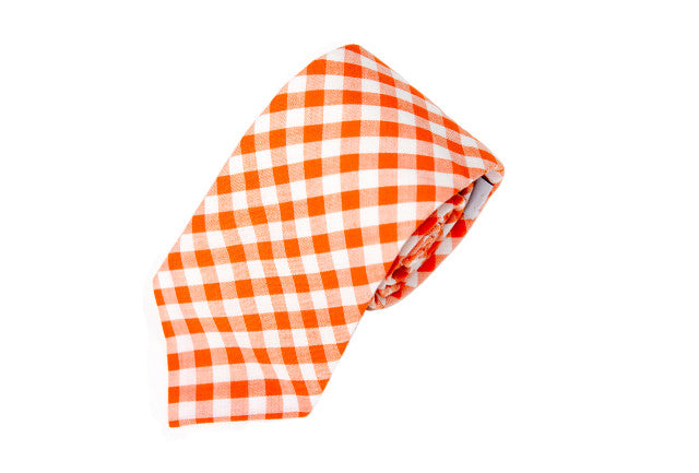 Orange Gingham Necktie