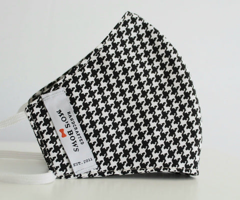 GoMo ADULT Face Mask - Black and White Houndstooth