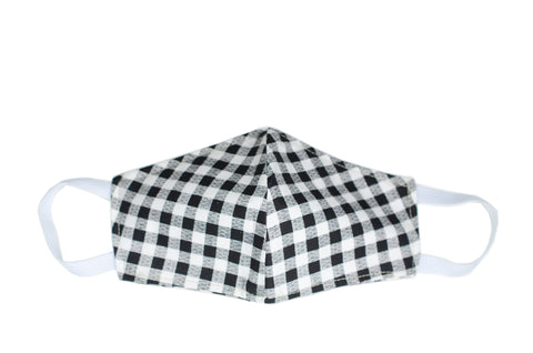 GoMo ADULT Face Mask- Black & White Gingham (PRE-ORDER AVAILABLE ONLY)