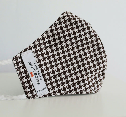 GoMo ADULT Face Mask - Brown and White Houndstooth