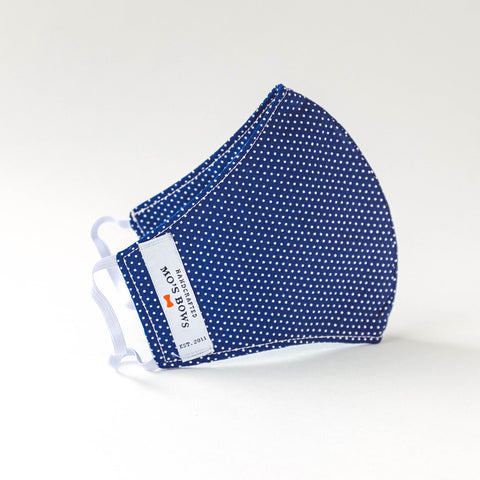 GoMo ADULT Face Mask- Dots on Navy Blue