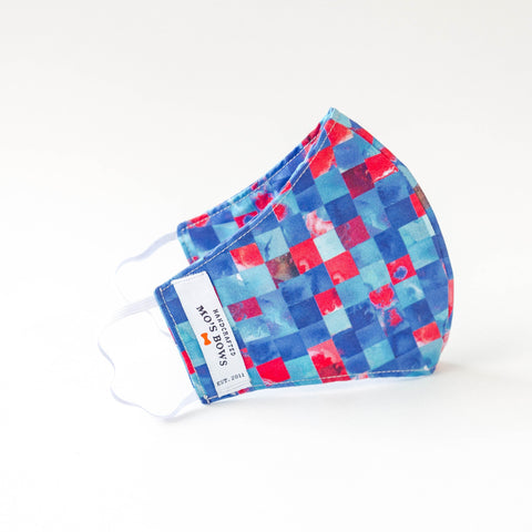 GoMo ADULT Face Mask- Red and Blue Mosaic